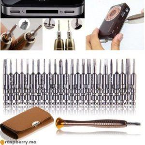 Lot de 25 pièces Tournevis de précision avec trousse cuir 1