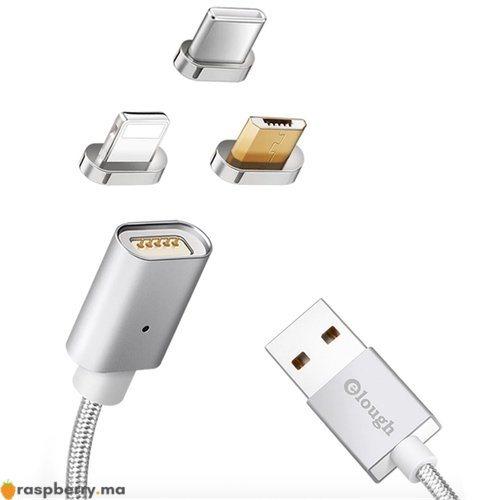 Câble magnétique avec trois connecteurs USB Type C Micro USB connecteur Iphone 1