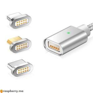 Câble magnétique avec trois connecteurs USB Type C Micro USB connecteur Iphone 2