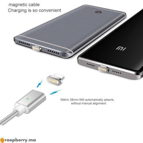 Câble magnétique avec trois connecteurs USB Type C Micro USB connecteur Iphone 3