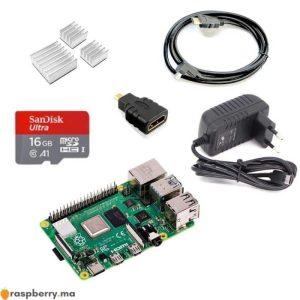 Kit de démarrage Raspberry Pi 4B Une carte micro SD 16 GO, Class 10 Une alimentation 5V, 3A (avec USB type C) Câble HDMI-HDMI 1,5m Adaptateur Micro HDMI-M à HDMI-F 3 Dissipateurs de chaleur