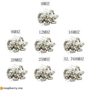 Oscillateur à cristal 32.768K 4 8 12 16 20 25 MHZ 1
