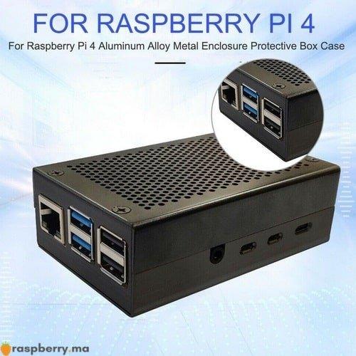Boîtier-Raspberry-Pi-4-en-métal-Noir-4