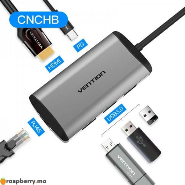 2 Convention-Thunderbolt-3-Dock-USB-Hub-Type-C-vers-HDMI-USB3-0-RJ45-Adaptateur-pour-MacBook-1