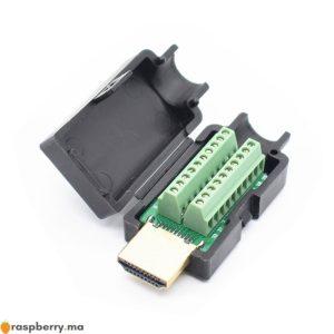 Connecteur-sans-soudure-HDMI-m-le-19-P-avec-couvercle-noir