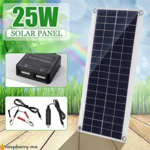 Portable-25W-12V-panneau-solaire-Double-USB-batterie-externe-conseil-batterie-externe-charge-solaire-panneau-de